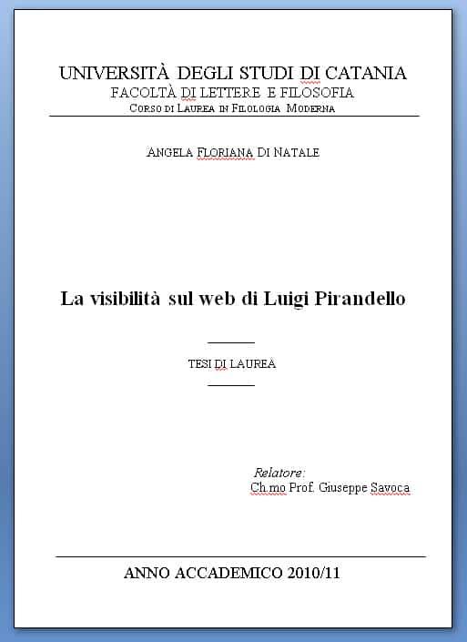 La visibilità sul web di Luigi Pirandello