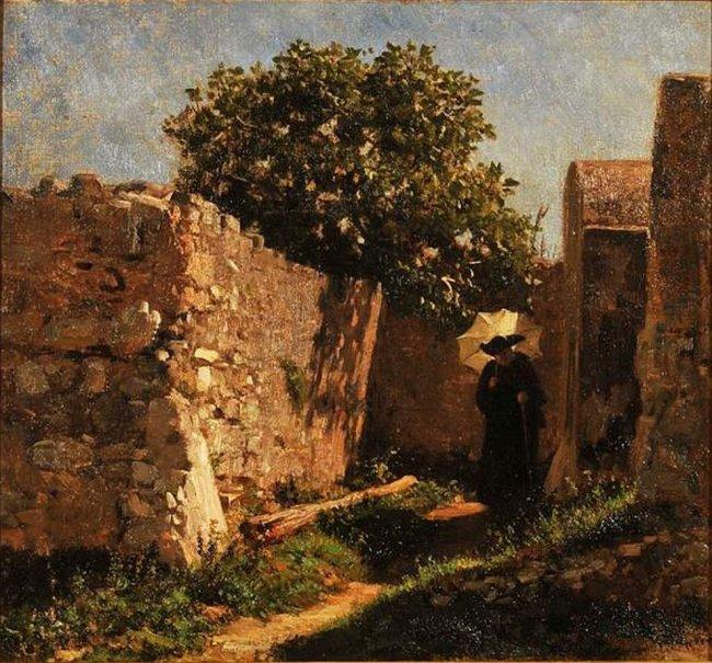 Filippo Palizzi (1811-1899), Viottolo fra due muri, figura di prete in fondo, 1859