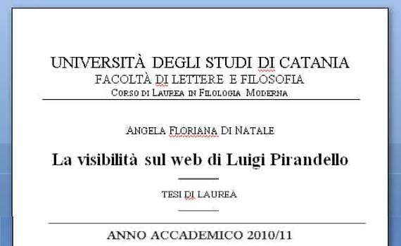 La visibilità sul web di Luigi Pirandello – Tesi di laurea